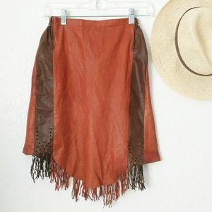 80-90s Vintage Fringe Tassel Leather Mini Skirt